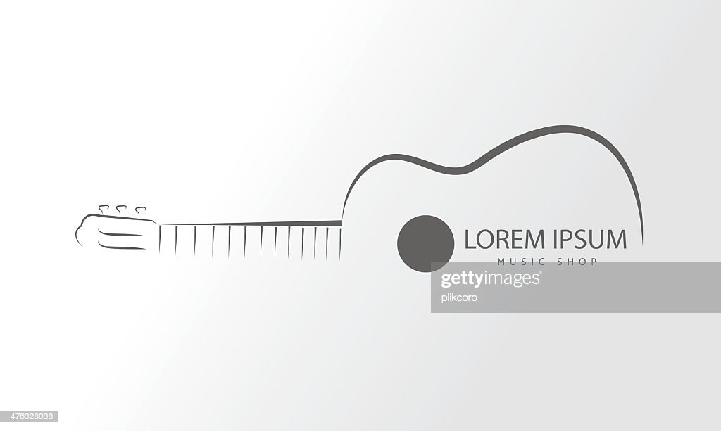 Vector guitar logo.Guitar line swirly art logo vector template