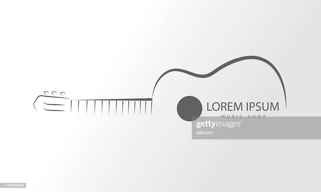 Vector guitar logo.Guitar line swirly art logo vector template