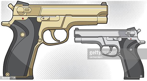 vector gun - handgun stock illustrations