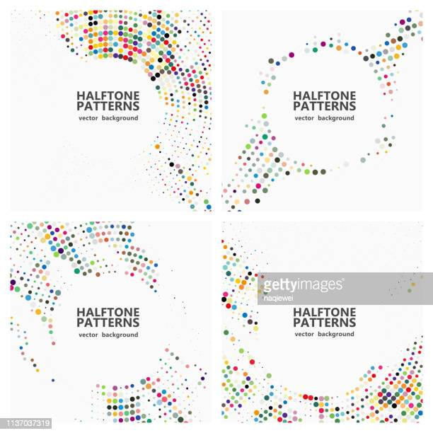 vector half tone polka dots pattern,abstract backgrounds - colors stock illustrations