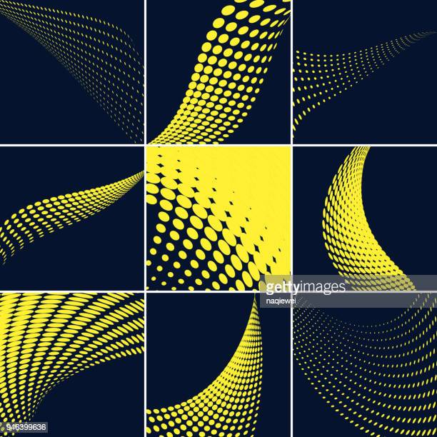 vector halftone dots pattern collection - dotted line stock illustrations