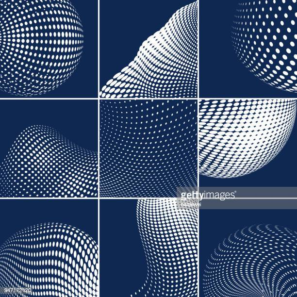 vector halftone dots pattern - connect the dots stock illustrations