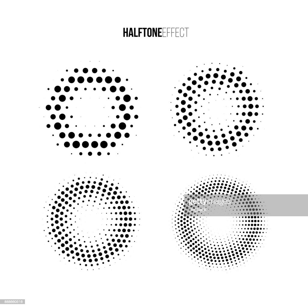 Vector halftone effect set. Different gradient rings in halftone effect.