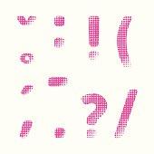 Vector halftone raster alphabet