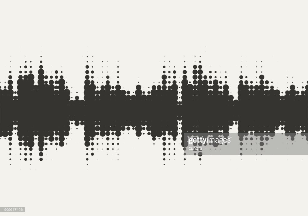 Vector halftone sound wave design. Abstract texture background.
