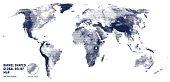 Vector halftone world relief map.