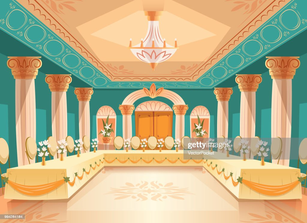 Vector hall for banquet, interior of ballroom
