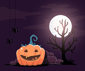 Vector halloween illustration of decorative orange pumpkin with
