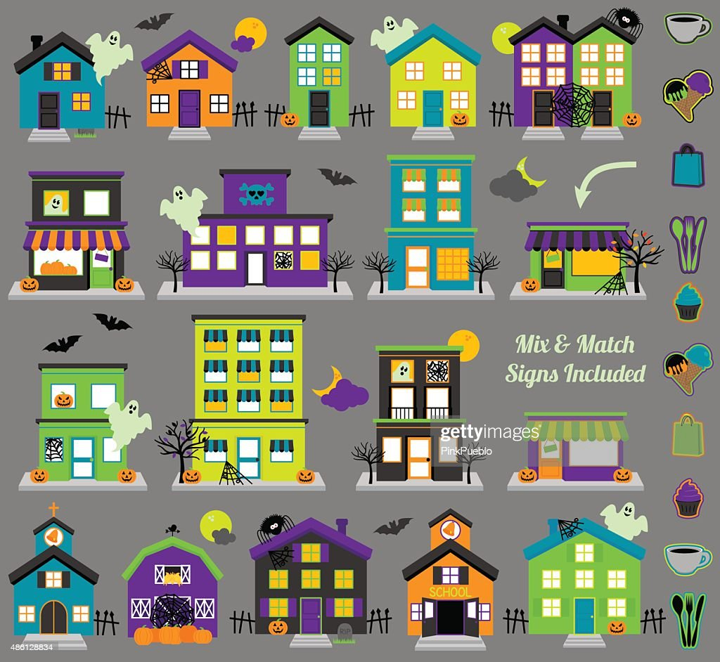 Vector Halloween Town with Haunted Houses and Signs
