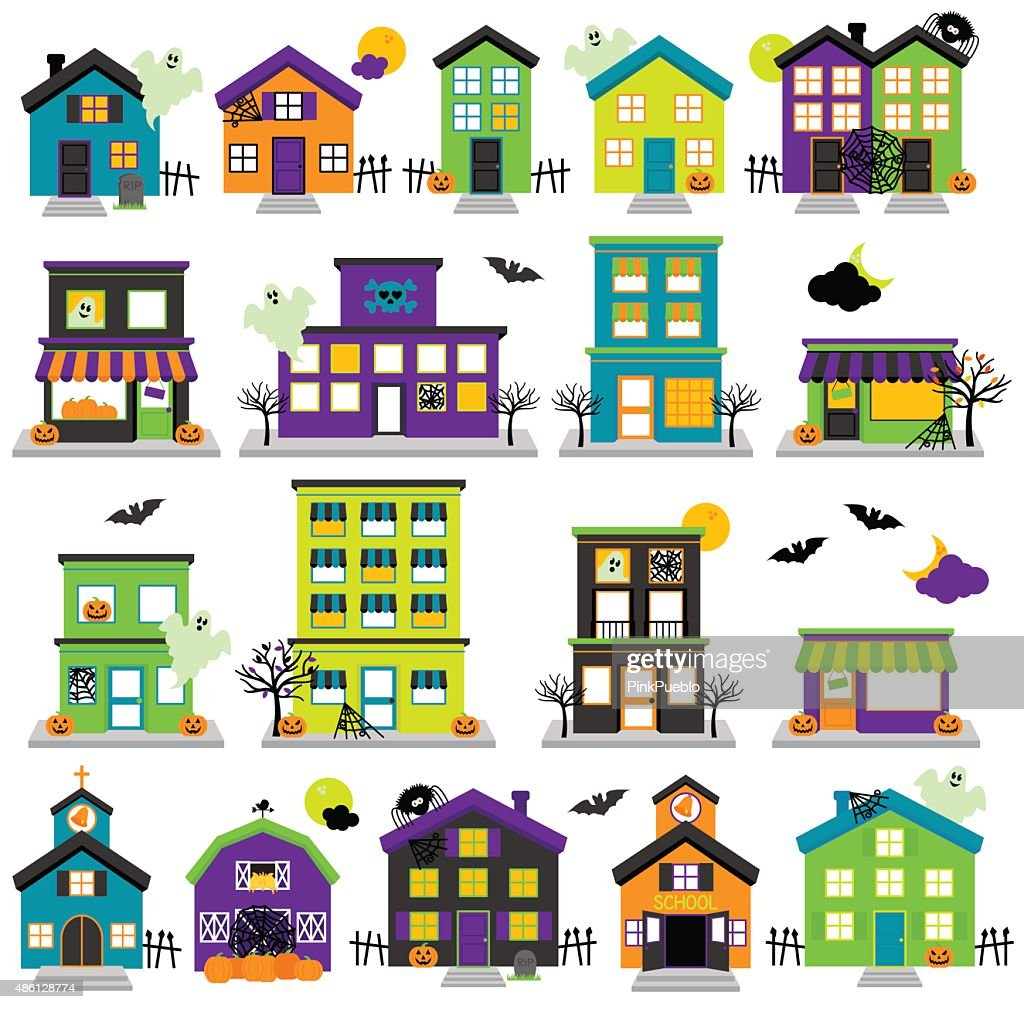 Vector Halloween Town with Haunted Houses, Shops