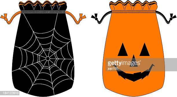 vector halloween trick or treat bag - drawstring bag stock illustrations