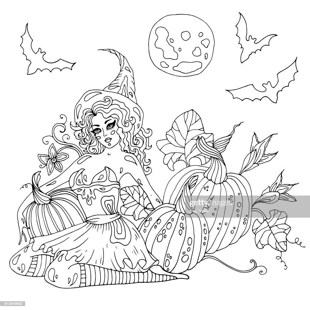 Vector Halloween witch in high hat sitting beside pumpkins