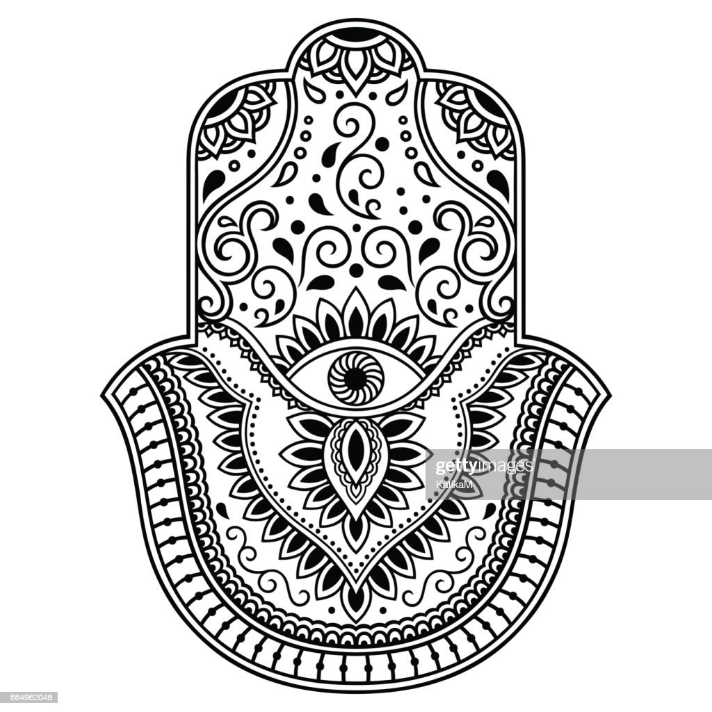 Vector hamsa hand drawn symbol. Decorative pattern in oriental style for the interior decoration and drawings with henna. The ancient symbol of the ' Hand of Fatima '.