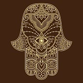 """Vector hamsa hand drawn symbol. Decorative pattern in oriental style for the interior decoration and drawings with henna. The ancient symbol of the """" Hand of Fatima """"."""