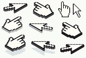 Vector hand and arrow cursor