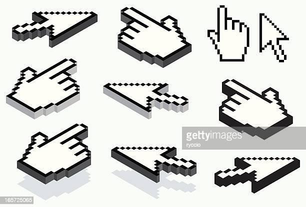 ilustrações, clipart, desenhos animados e ícones de vetor de mão e cursor de seta - cursor