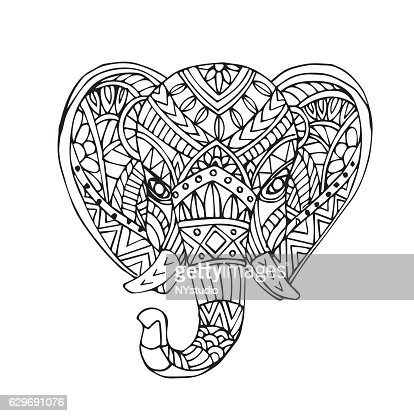 Vector Hand Draw Of Elephant Head High Res Vector Graphic
