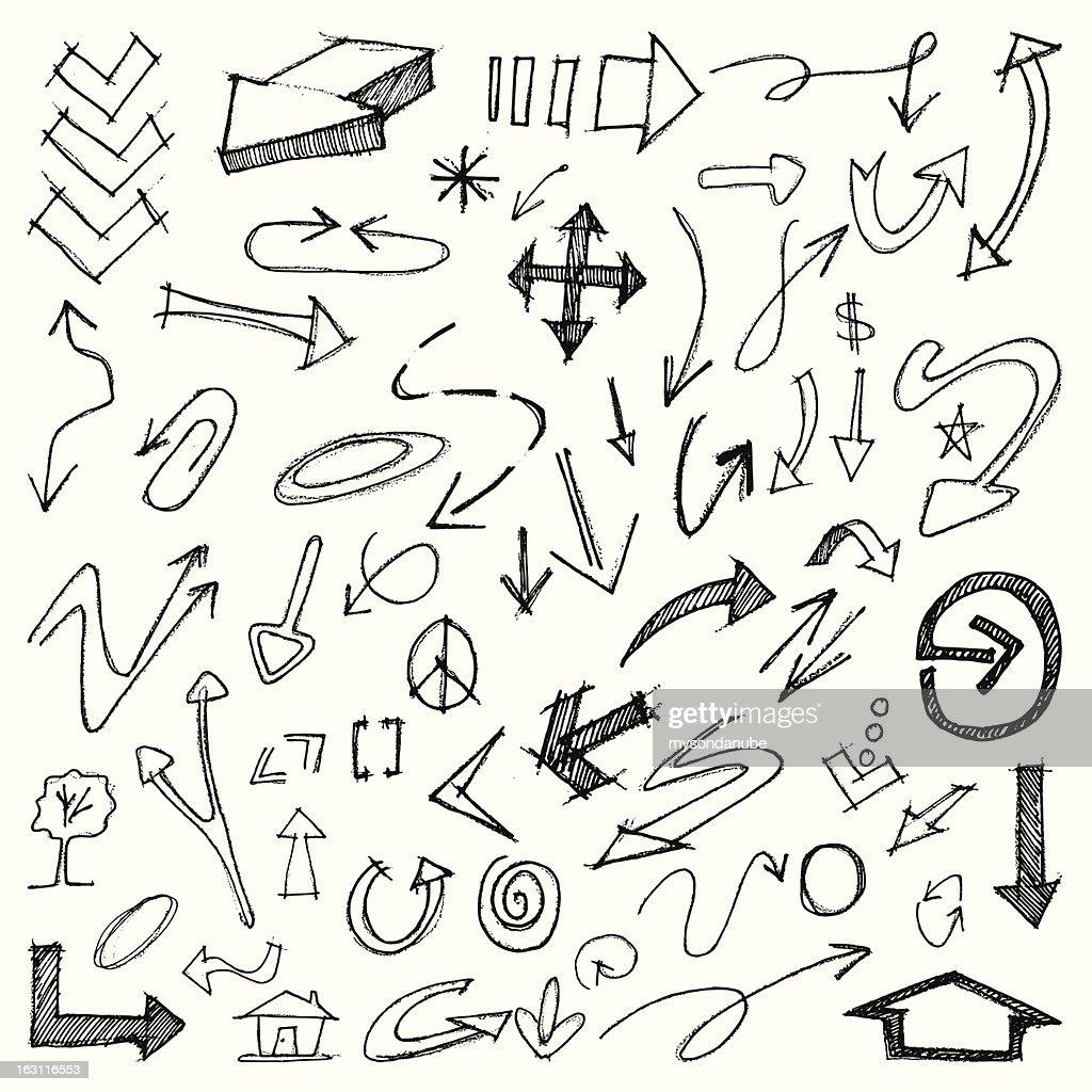 Vector Hand Drawn Arrows Set : stock illustration