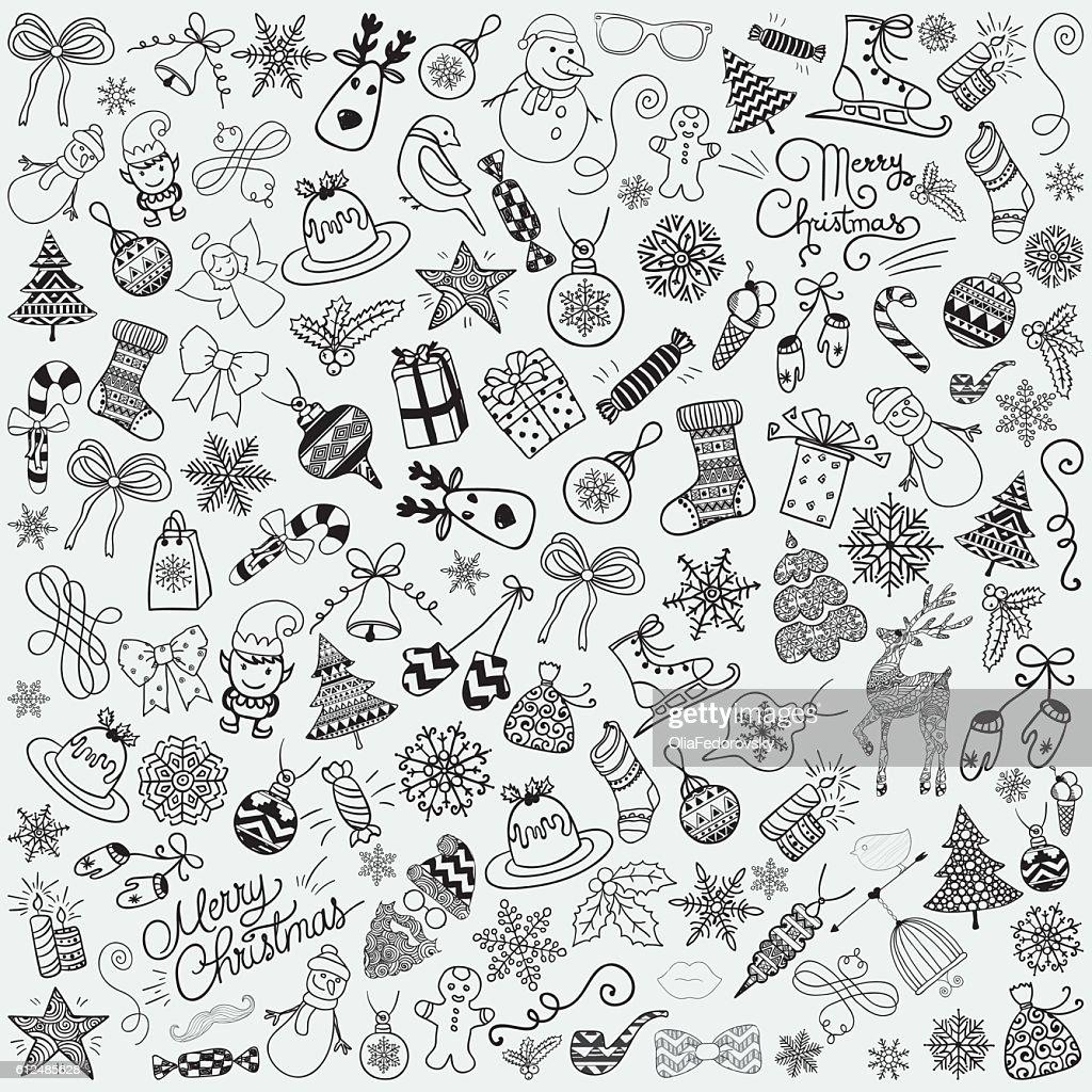 Vector Hand Drawn Artistic Christmas Doodles Clip-art.