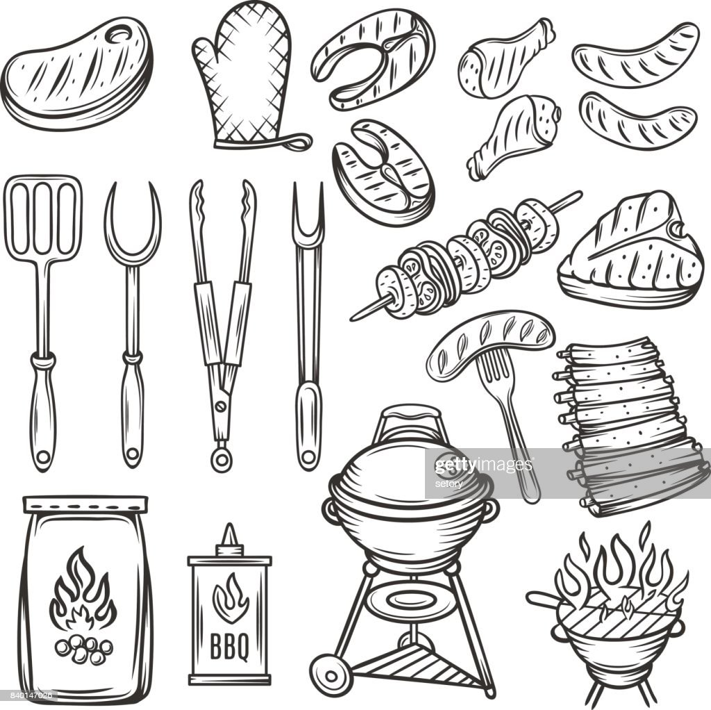 Vector Hand drawn barbecue icons set.
