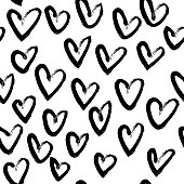 Vector hand drawn black and white seamless pattern in grunge style.