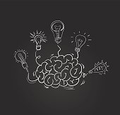 Vector hand drawn brain with different bulbs