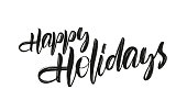 Vector hand drawn brush type lettering of Happy Holidays on white background