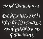Vector hand drawn calligraphic font. Handmade calligraphy tattoo alphabet. ABC
