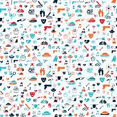 Vector hand drawn cartoon seamless pattern with cinema genres. Movie genres theme: action, romance, fantasy, sci-fi, comedy, drama. Colored pattern for paper, textile, polygraphy, game, web design