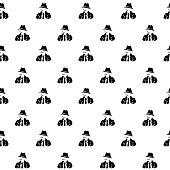 Vector hand drawn cartoon seamless pattern with detective. Crime, noir theme. Black and white spy pattern for paper, textile, polygraphy, game, web design