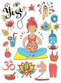 Vector hand drawn collection. Mom and baby. Yoga for pregnant wo