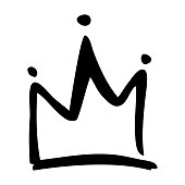 Vector hand drawn crown on white background