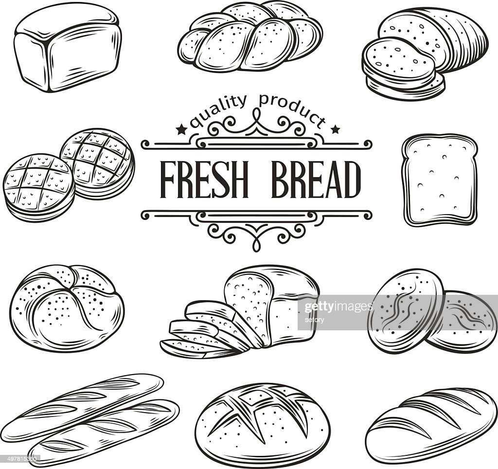 vector hand drawn decorative bread