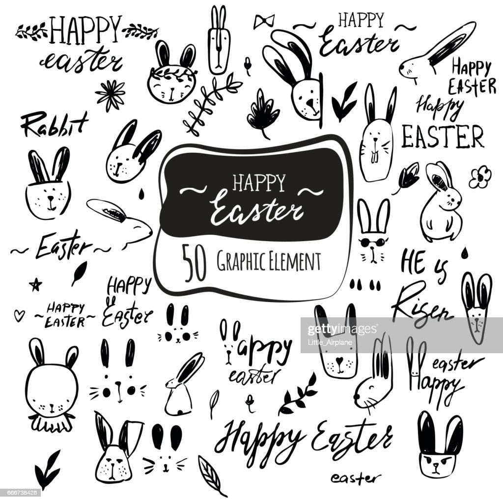 Vector hand drawn easter icon and lettering set. Happy Easter calligraphy, rabbit characters, flowers and plants.