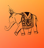 Vector hand drawn elephant. India style illustration.