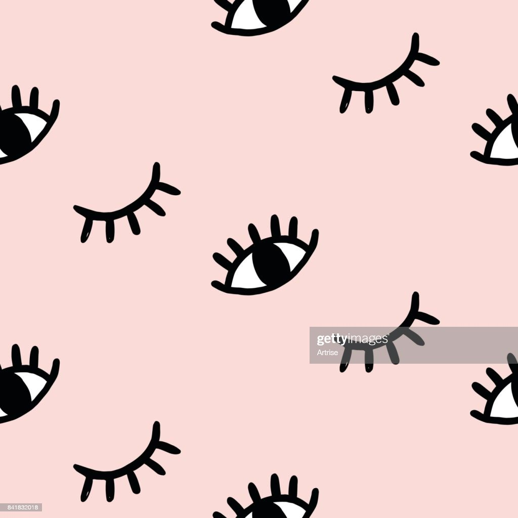 Vector hand drawn eye doodles seamless pattern