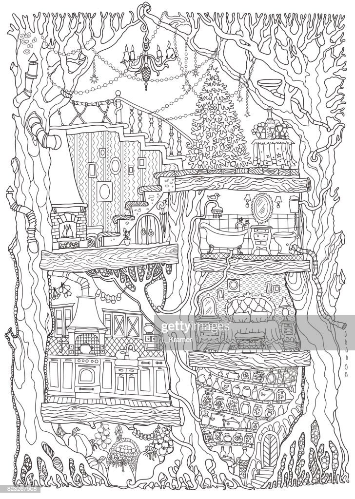 Vector hand drawn fantasy old oak tree with fairy tale house. Black and white sketch . Tee-shirt print. Adults and children Coloring book page. Batik paint. Christmas greeting and party invitation card