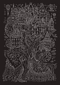 Vector hand drawn fantasy old oak tree with fairy tale house. Light gray doodle sketch. Black and white tee-shirt print background. New Year and Christmas greeting card, party invitation