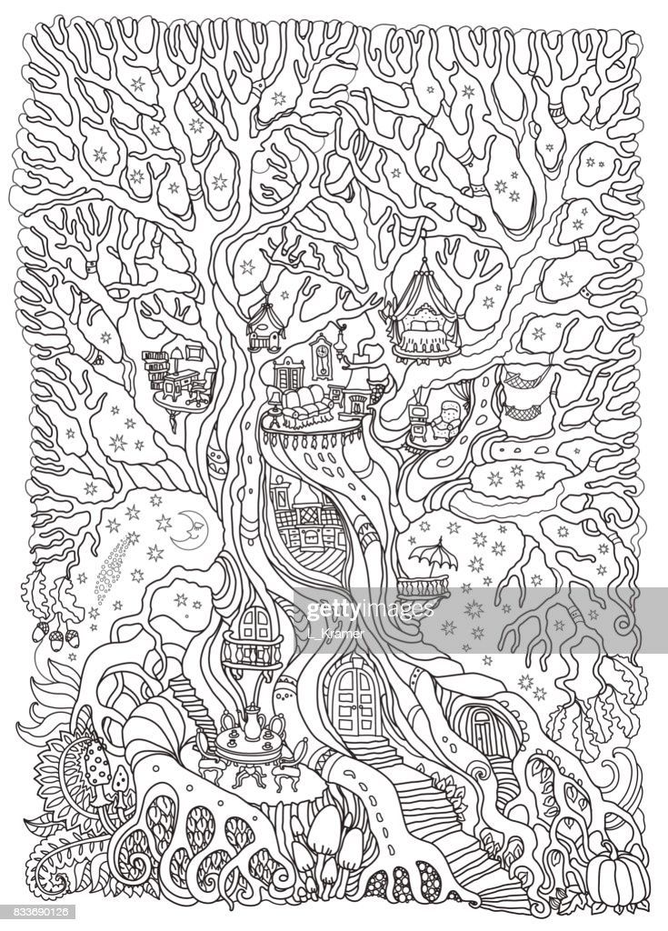 Vector hand drawn fantasy old oak tree with fairy tale house with toy furniture. Black and white sketch . Tee-shirt print. Adults and children Coloring book vertical page. Batik contour drawing
