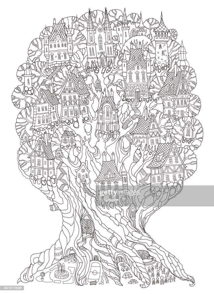 Vector hand drawn fantasy old oak tree with fairy tale houses, castles and palaces. Brown contour drawing on a beige background. Tee-shirt print. Adults and children Coloring book vertical page. Batik template