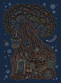 vector hand drawn fantasy old tree
