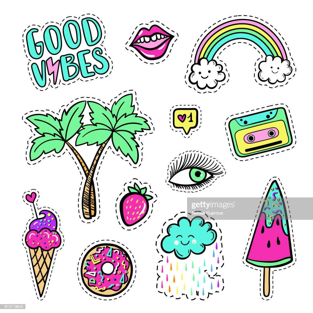 Vector hand drawn fashion patches set: rainbow, cloud, doughnut, lip, cassette, palm tree, watermelon, Good vibes. Pop art stickers, patches, pins, badges in 80s-90s cartoon style