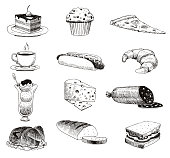 Vector hand drawn food sketch and kitchen doodle. Handdrawn food sketch and kitchen doodle graphic retro cook restaurant meal menu symbols. Dinner design product ingredient illustration