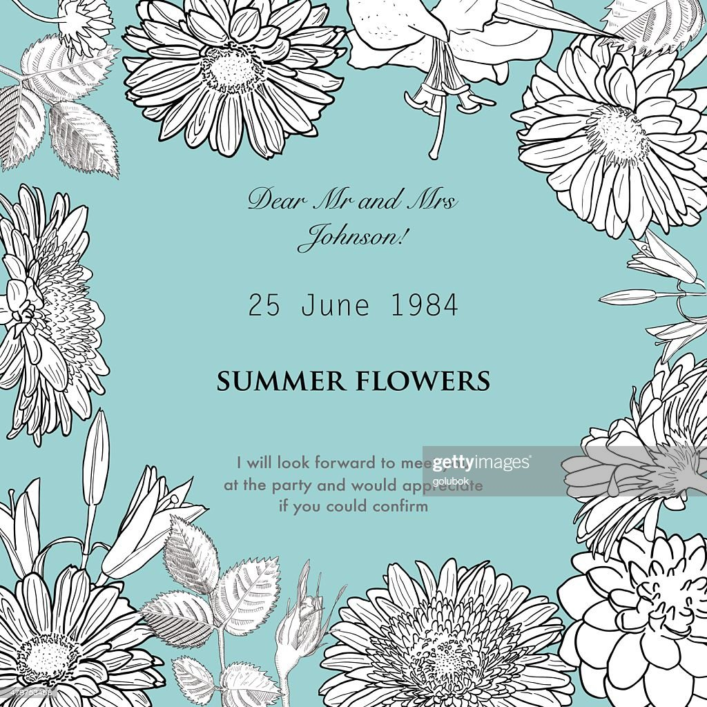 Vector hand drawn frame made of flowers