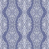 Vector hand drawn geometrical abstract seamless Ikat pattern from decorative ethnic ornament. Blue indigo  tribal elements on a white background. Batik, wallpaper, wrapping, page fill, textile print