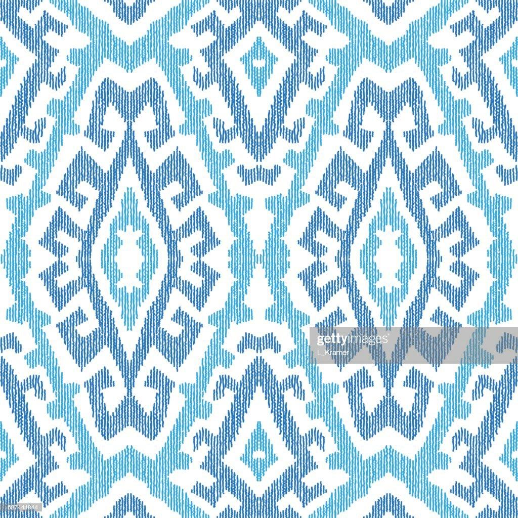 ikat muster von dekorativen ethnischen ornament blauen indigo stammes elemente auf einem weien hintergrund batik tapete verpackung seitenfllung - Batiken Muster