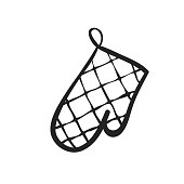 Vector hand drawn icon of potholder