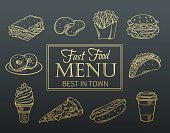 Vector hand drawn icons fast food