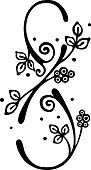 Vector hand drawn illustration, decorative stylized number eight in shape of tree with branch, flowers leaves Black and white isolated graphic outline illustration for 8 March. Line drawing silhouette