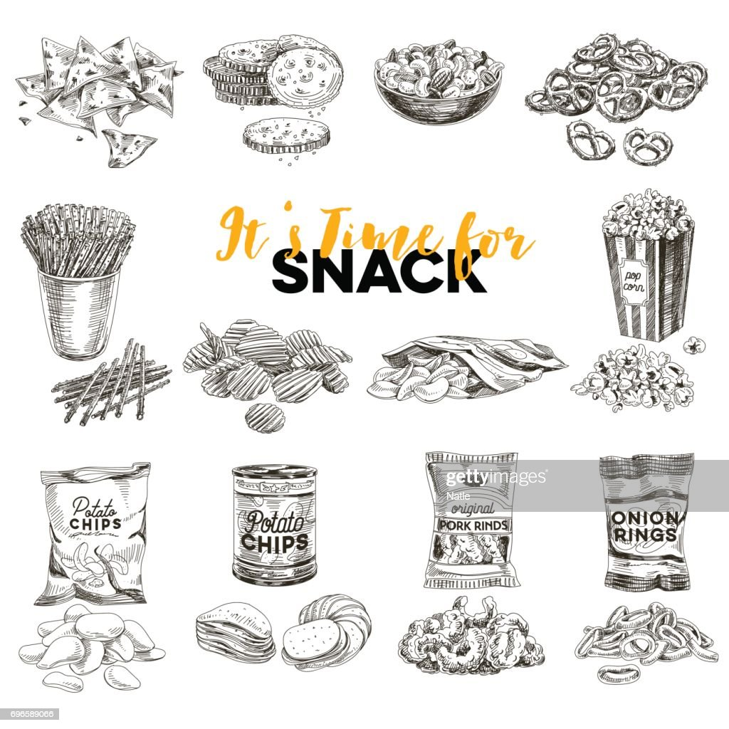 Vector hand drawn Illustration with retro snack staff.